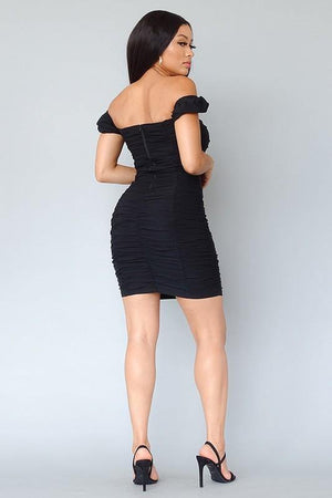 Monica, Ruched puff sleeve mini bodycon dress
