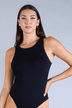 Sleeveless racer back double jersey bodysuit - Dimesi Boutique