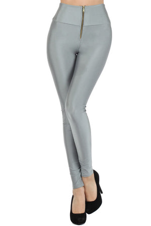 High waist leggings with front middle zipper - Dimesi Boutique
