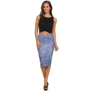 Katy, Denim printed skirt - Dimesi Boutique