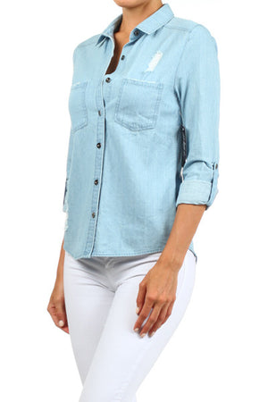 ELLIE, DENIM BLOUSE - Dimesi Boutique
