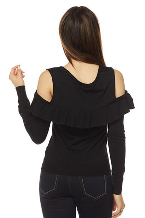 Olivia, Solid cold shoulder ruffled top