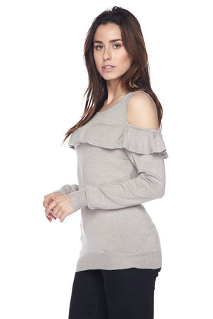 Olivia, Solid cold shoulder ruffled top - Dimesi Boutique