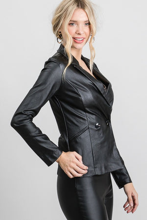 Black double breasted pleather blazer jacket