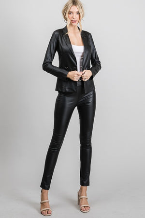 Black double breasted pleather blazer jacket - Dimesi Boutique
