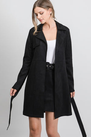 Suede Front Tie Coat Jacket - Dimesi Boutique