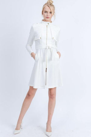 Mara, Ivory Waist Tie Zip Up Long Line Trench Coat Jacket - Dimesi Boutique