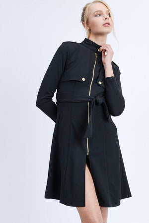 Mara, Black Waist Tie Zip Up Long Line Trench Coat Jacket - Dimesi Boutique