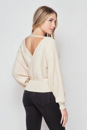 Monica, Tie front long sleeve wrap sweater