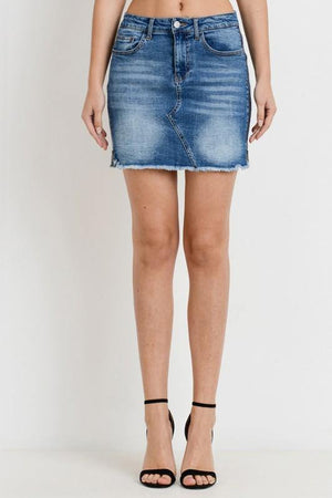 Denim mini skirt with side zippers - Dimesi Boutique