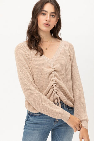 Jade, Glitter shiny ruched front knit sweater