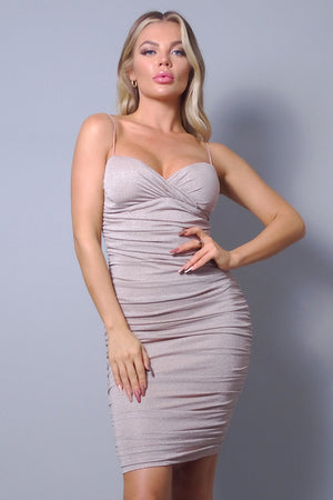 Monroe, Spaghetti strap glitter side ruching dress