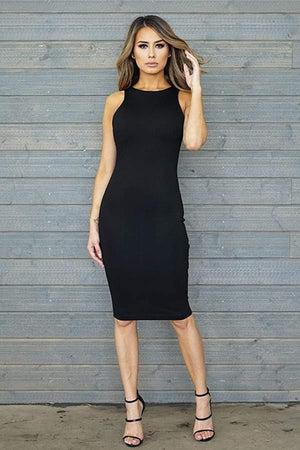 Daisy, Sleeveless Black Midi Dress - Dimesi Boutique