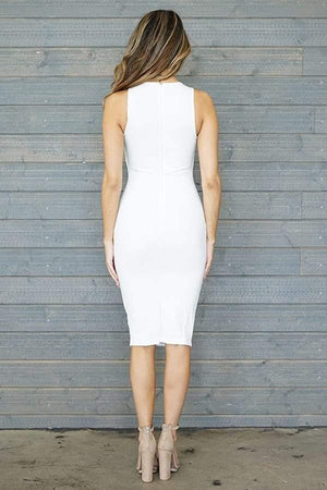 Daisy, Sleeveless White Midi Dress - Dimesi Boutique