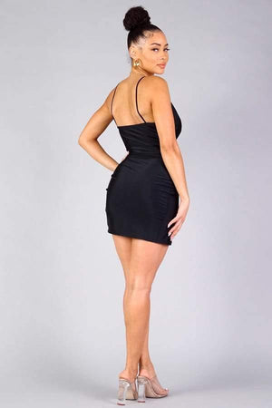 Spaghetti strap deep V crossover front wrap mini dress - Dimesi Boutique