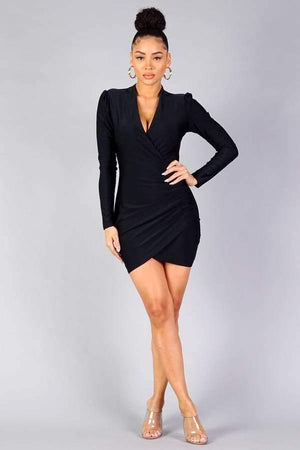 Puff long sleeve crossover front wrap skirt dress - Dimesi Boutique