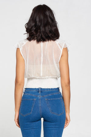Kelly, Ruffle layered smocked top with polka dot lace