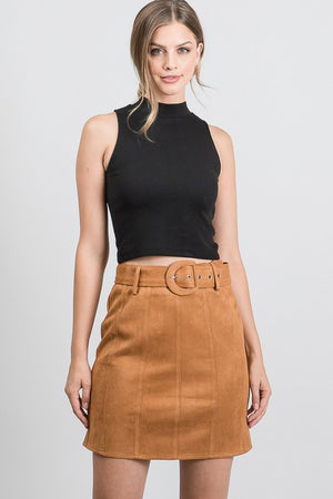 Pleated texture belted suede mini skirt