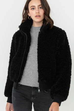 Soft Fur Zip Up Long Sleeve Bomber Jacket