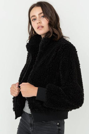 Copy of Soft Fur Zip Up Long Sleeve Bomber Jacket