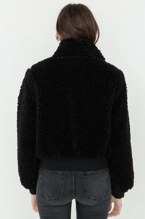 Soft Fur Zip Up Long Sleeve Bomber Jacket - Dimesi Boutique
