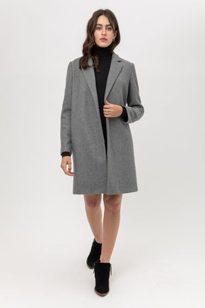 Sara, Long sleeve soft textured coats with pockets