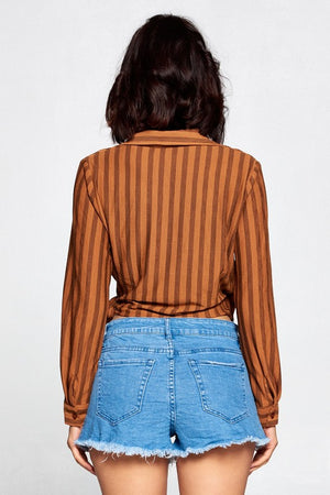 Frida, Long sleeve striped top with front tie