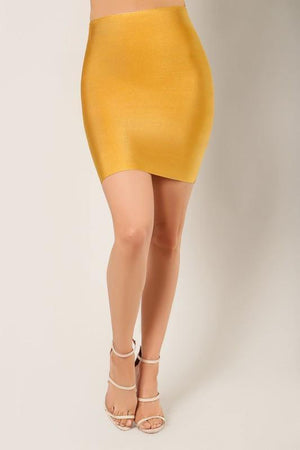 Thalia, Mustard bandage mini skirt - Dimesi Boutique