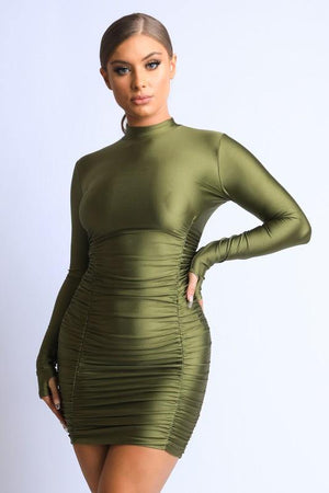 Long sleeve mock neck ruched dress - Dimesi Boutique