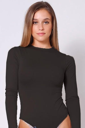 Long sleeve mock neck bodysuit - Dimesi Boutique