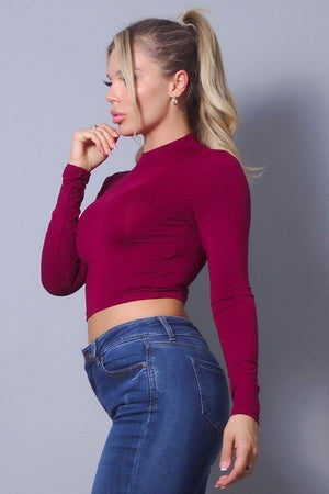 Long sleeve mock neck basic crop top - Dimesi Boutique
