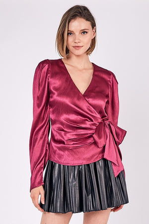 Ruby, Tie waist v neck satin wrap top