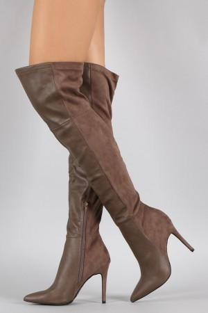 Akira Thigh High Taupe Boots