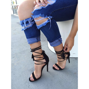 Glee, Open toe lace up heels - Dimesi Boutique