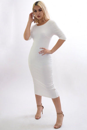 Stella white Classic midi dress - Dimesi Boutique