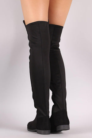 Willy thigh high black flat boots