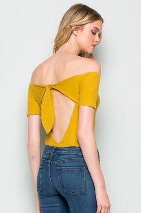 Stephanie , Mustard Bodysuit - Dimesi Boutique