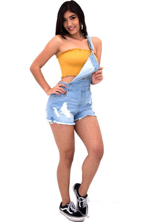 Sydney, Distressed overall shorts - Dimesi Boutique