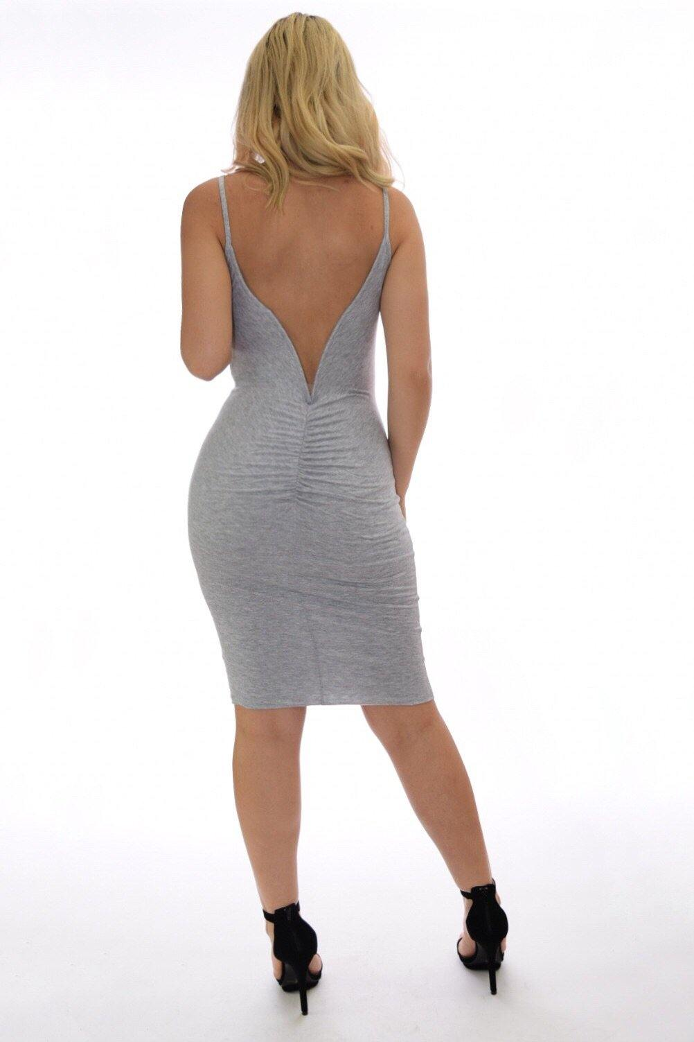 Vanessa grey dress with deep V-cut on back