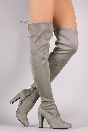 Thigh High Suede Grey Boots - Dimesi Boutique