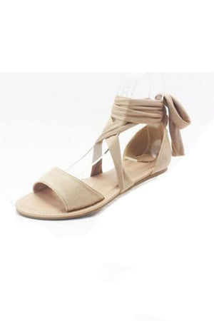 Clover, Flat sandals with ankle strap wraps - Dimesi Boutique