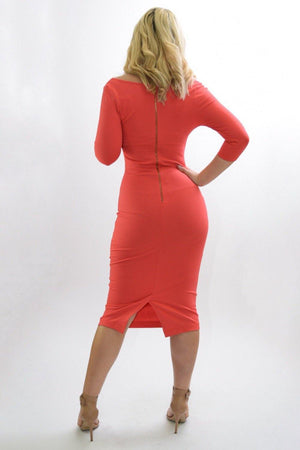 Margaret coral bodycon midi dress - Dimesi Boutique