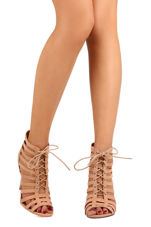 Open toe heels with tie up straps - Dimesi Boutique