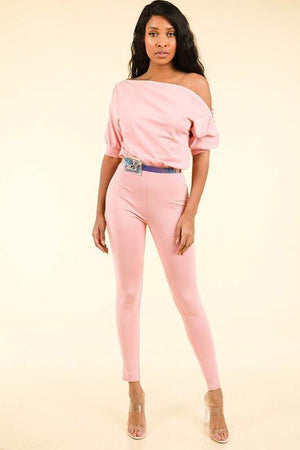 Nicole, Blush Jumpsuit With Zipper Shoulder - Dimesi Boutique