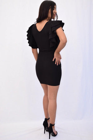 Grecia, Black dress with sleeve ruffles - Dimesi Boutique