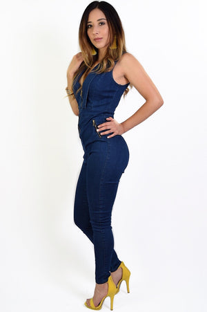 Addison, denim jumpsuit with front zipper adjustable. - Dimesi Boutique