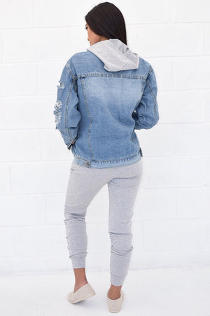 Nicole Light wash over size distress denim jacket - Dimesi Boutique