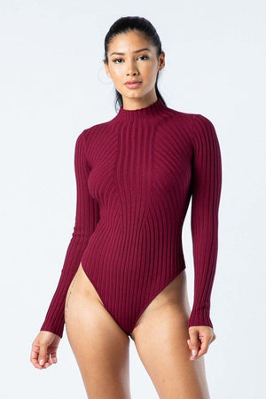 Dolce, Long Sleeve burgundy Bodysuit - Dimesi Boutique