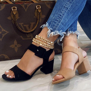 Bellas, Open toe heels with ankle strap - Dimesi Boutique