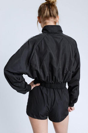 Alicia, Black Jacket with Cropped Single Stripe